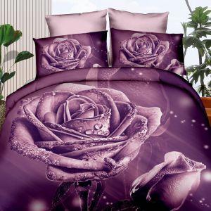 Pościel 3D - Fioletowa Rosa - 160x200 cm - 3 cz - 355-1-06