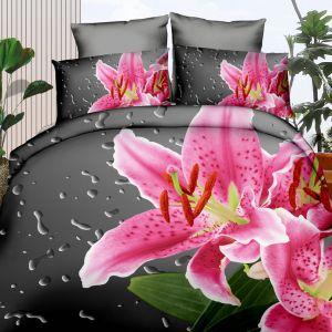 Pościel 3D - Różowa Lilia - 160x200 cm - 3 cz - 355-1-07