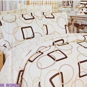 Pościel bawełniana - Beżowe Okręgi - 160x200 cm - 3cz - 252-07