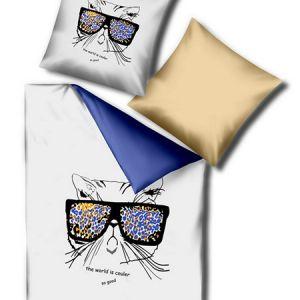 Pościel 3D - Kot w Okularach - 160x200 cm - 3 cz - 245-09