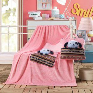 Koc poduszka - 110x160 - Różowy Piesek - BZ-1-160-12