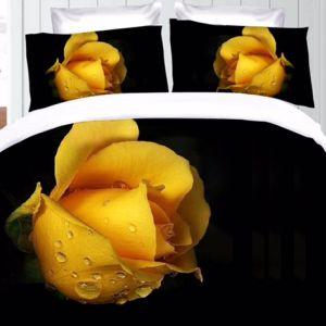 Pościel 3D - Róża w Czerni - 220x200 cm - 3 cz - 391-01