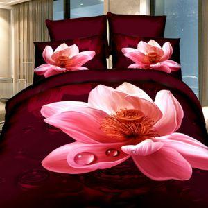 Pościel 3D - Różowy Spokój - 220x200 cm - 3 cz - 391-10