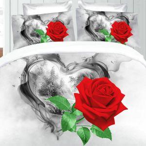 Pościel 3D - Romantyczna Róża - 220x200 cm - 3 cz - 391-11