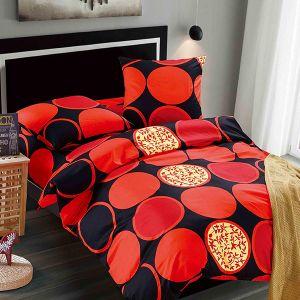 Pościel klasyczna - Czerwone Koła - 160x200 cm - 3 cz - 2008-10
