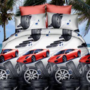 Pościel 3D - Czerwony Samochód - 160x200 cm - 3 cz - 319-03