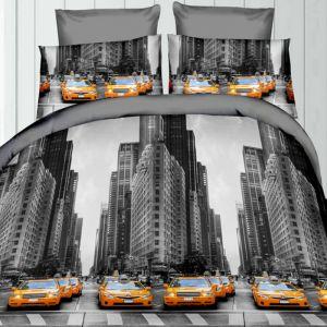 Pościel 3D - Żółte Taksówki - 160x200 cm - 3 cz - 319-07