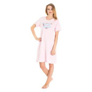 Koszula Nocna z Nadrukiem - Jasno-Różowa (65620)