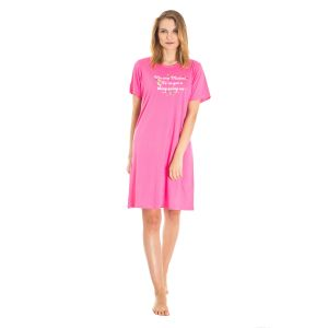 Koszula Nocna z Nadrukiem - Różowa (65620)