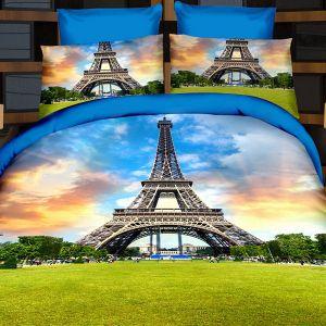 Pościel 3D - Zielony Paryż - 160x200 cm - 4 cz - 166-01
