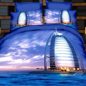 Pościel 3D - Nocny Dubaj - 160x200 cm - 4 cz - 166-05