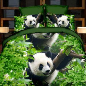 Pościel 3D - Panda w Zieleni - 160x200 cm - 3 cz - 17009-06
