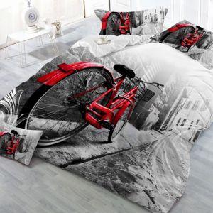 Pościel 3D -  Czerwony Rower - 160x200 cm - 3 cz - 923-04