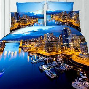 Pościel 3D - Morskie Miasto - 160x200 cm - 3 cz - 276-04