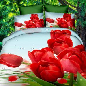 Pościel 3D - Czerwone Tulipany - 160x200 cm - 3 cz - 282-03