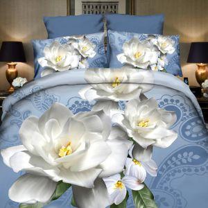 Pościel 3D - biały kwiat  - 160x200 cm - 4 cz - 4204-12