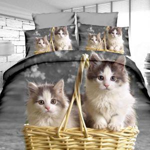 Pościel 3D - Kotki w koszyku - 160x200 cm - 3 cz - 4204-01