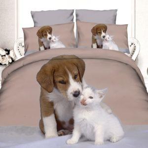 Pościel 3D - szczeniak z kotkiem - 160x200 cm - 3 cz - 4204-02