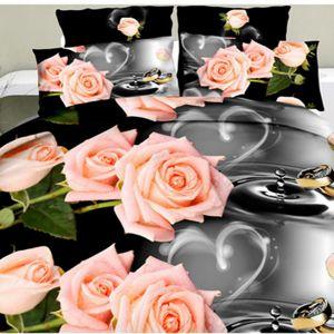 Pościel 3D - Łososiowe Róże - 160x200 cm - 4 cz - 1708-04