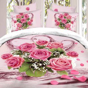 Pościel 3D - Różowe Róże - 160x200 cm - 4 cz - 1708-05