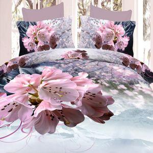 Pościel 3D - Kwiaty Sakury - 160x200 cm - 4 cz - 1708-06