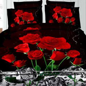 Pościel 3D - Róże w Wodzie - 160x200 cm - 4 cz - 1708-09