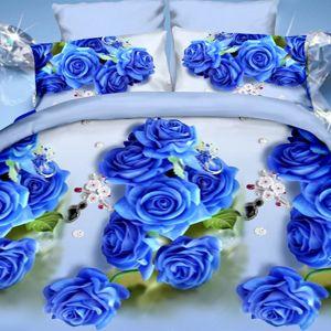 Pościel 3D - Niebieskie Róże - 160x200 cm - 4 cz - 1708-10
