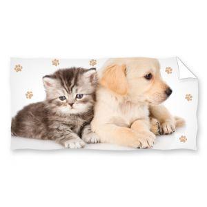 Ręcznik plażowy 70x140 - Labradorek Z Kotkiem