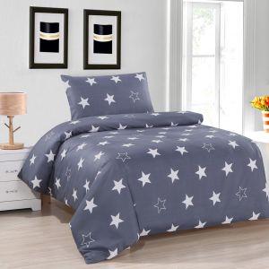 Pościel dwustronna - Szare Gwiazdy - 140x200 cm - 2cz - 601-01