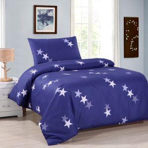 Pościel dwustronna - Niebieskie Gwiazdy - 140x200 cm - 2cz - 601-02