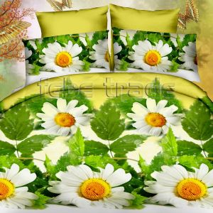 Pościel 3D - Kwiaty Romaszki  - 160x200 cm - 3 cz - 386-01