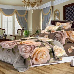 Pościel 3D - Kremowe Róże  - 160x200 cm - 3 cz - 386-05
