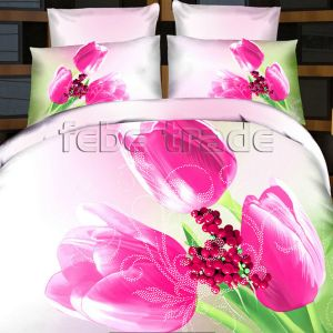 Pościel 3D - Różowe Tulipany  - 160x200 cm - 3 cz - 386-07