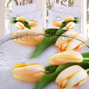 Pościel 3D - Żółte Tulipany  - 160x200 cm - 3 cz - 386-10