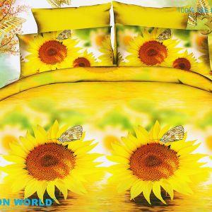 Pościel 3D - Słonecznik z Motylkiem - 160x200 cm - 3 cz - 386-12