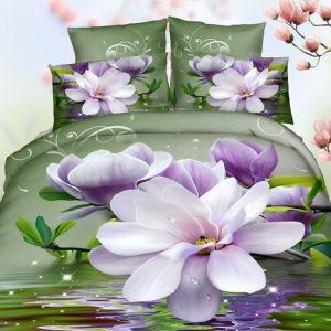 Pościel 3D - Magnolia w Wodzie - 160x200 cm - 3 cz - 59-06