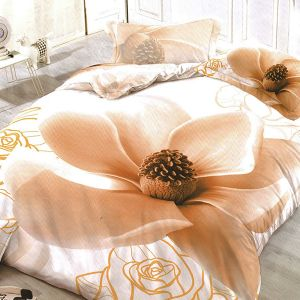 Pościel 3D - Kremowa Magnolia - 220x200 cm - 3 cz - 59-08