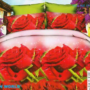 Pościel 3D - Czerwone Róże - 160x200 cm - 3 cz - 352-17