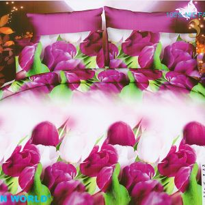 Pościel 3D - Tulipany Fioletowe - 160x200 cm - 3 cz - 352-18