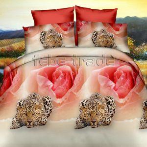 Pościel 3D - Róże z Leopardami  - 220x200 cm - 3 cz - 352-03