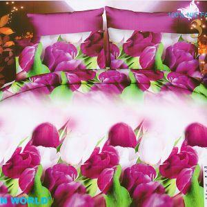 Pościel 3D - Tulipany Fioletowe - 220x200 cm - 3 cz - 352-18
