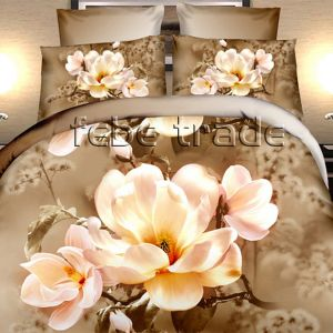 Pościel 3D - Brązowa Magnolia - 220x200 cm - 4 cz - 373-04