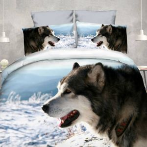 Pościel 3D - Pies Zimą  - 160x200 cm - 3 cz - 4209-04