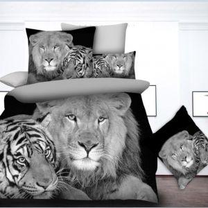 Pościel 3D - Tygrys z Lwem - 140x200 cm - 2 cz BE-D- 77-09