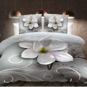 Pościel 3D - Srebrna Magnolia - 140x200 cm - 2 cz BE-D- 788-04