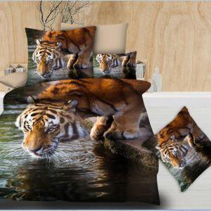 Pościel 3D - Tygrys Pijący - 140x200 cm - 2 cz BE-D- 788-08