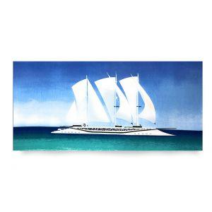 Ręcznik plażowy 70x145 cm - Biały Żaglowiec RPL-35
