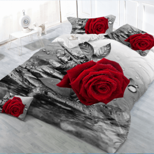 Pościel 3D -  Bordowa Różai - 160x200 cm - 3 cz - 77-04