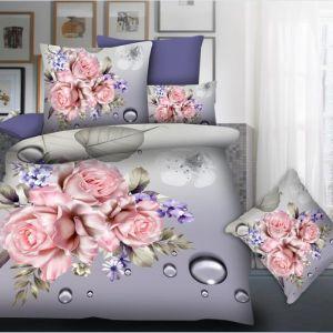 Pościel 3D - Różowe Róże  - 160x200 cm - 3 cz - 77-10