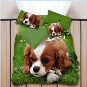 Pościel 3D -  Pies na Trawie - 160x200 cm - 3 cz - K-7-05